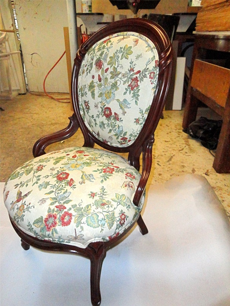 AntiqueChairRepair- after wood repairs and after re-upholstery