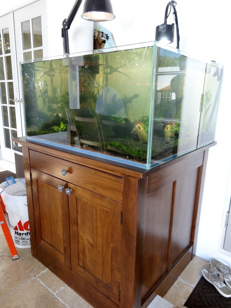 Custom wood cabinet for turtles aquarium