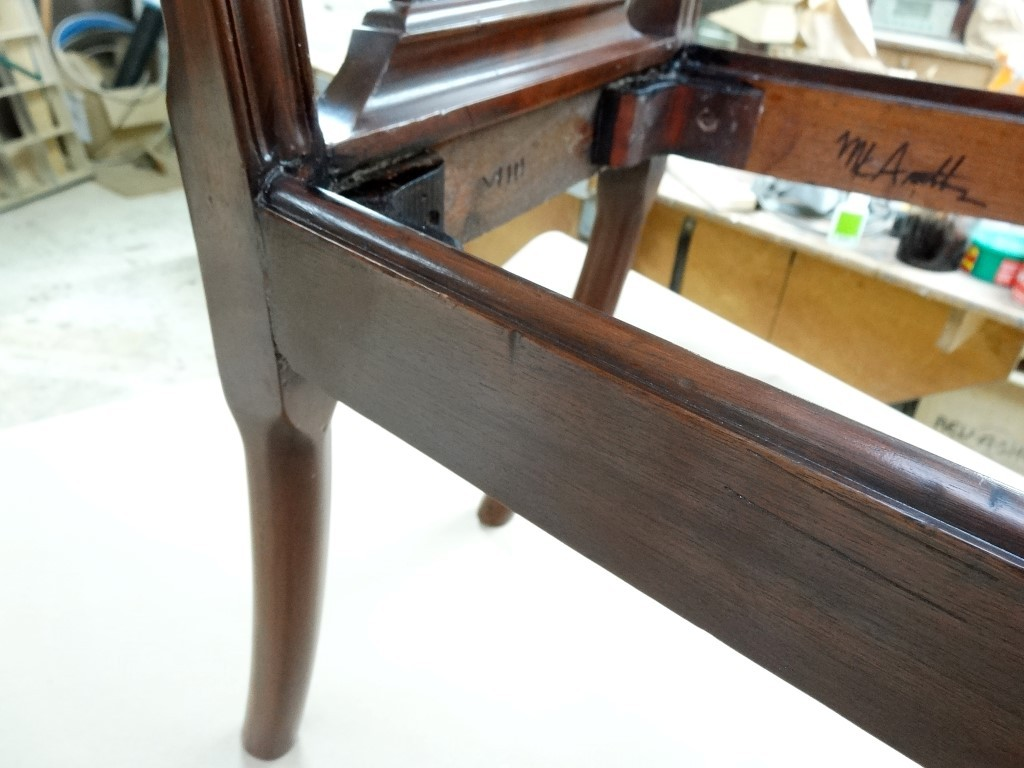 Dining chair re-glued  and made sturdy again, signed and guaranteed.