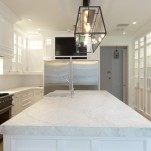 Large white slab marble kitchen island for mansion