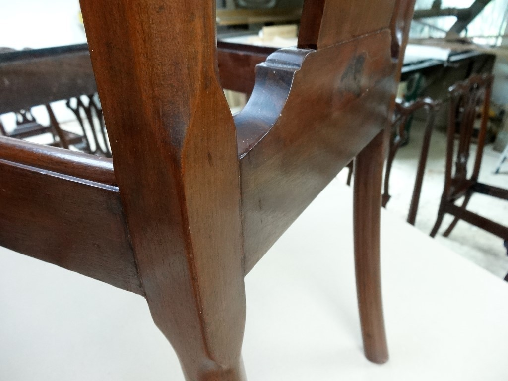 Close-up of restored corner joint one chair of dining room set