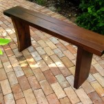 Rustic slab bench for the home garden made of local salvaged wood, all sizes made-to-order.