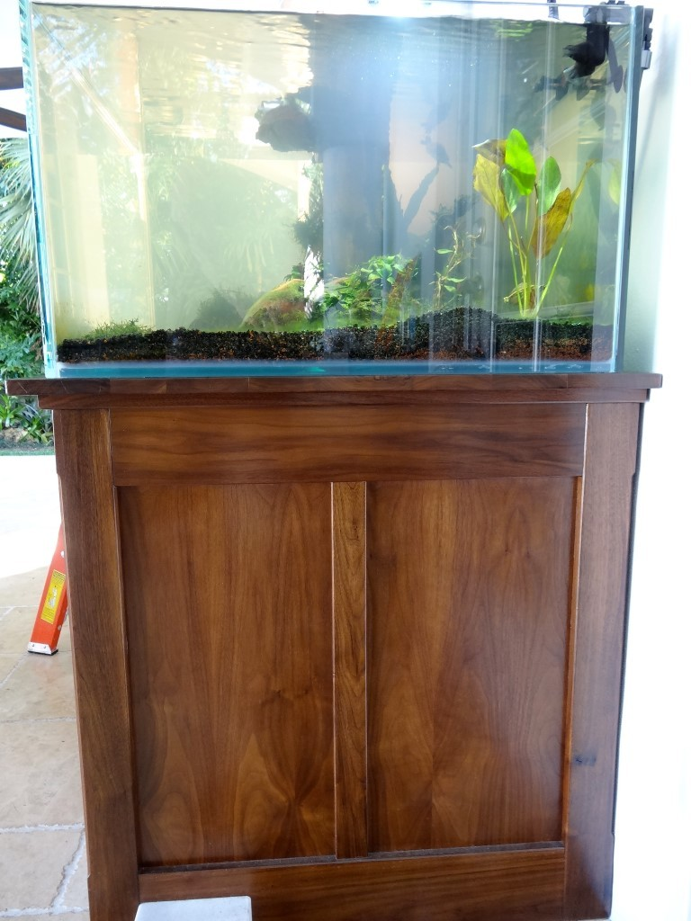 Side of custom walnut aquarium base cabinet